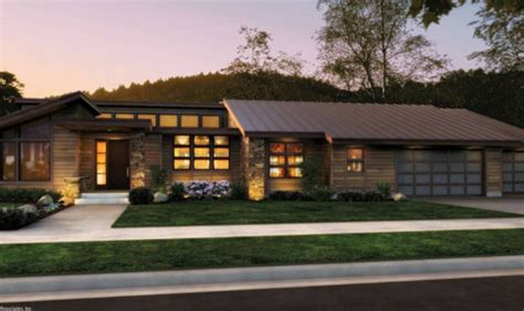 modern ranch house plans front rendering rambler would have to add a finished basement house plans