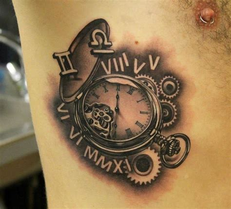 time clock tattoos 3d clock and time by phatt german tattoos
