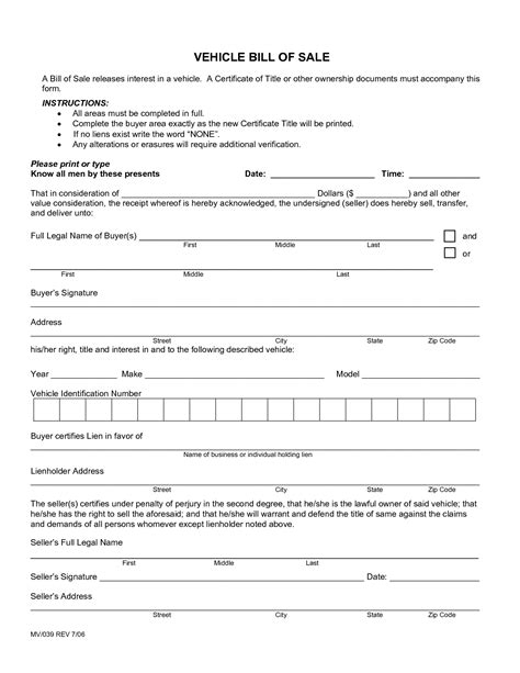 sample used car bill of sale form 8 free document in pdf doc