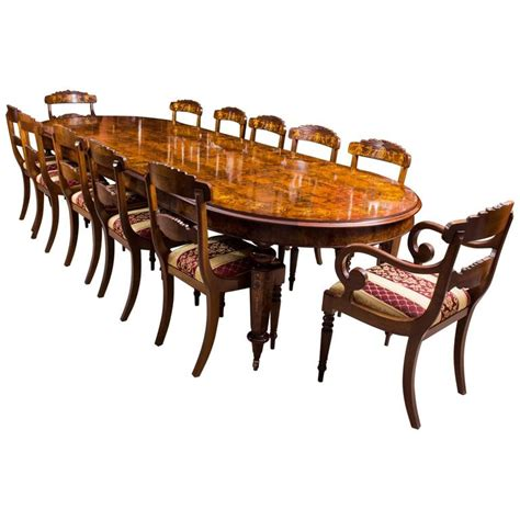 Handmade Dining Table And Chairs - bespoke handmade burr walnut marquetry dining table and 12