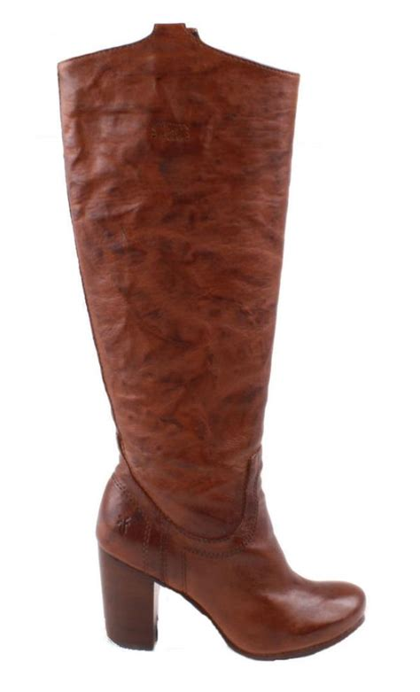 frye carson heel tab womens cognac leather knee high