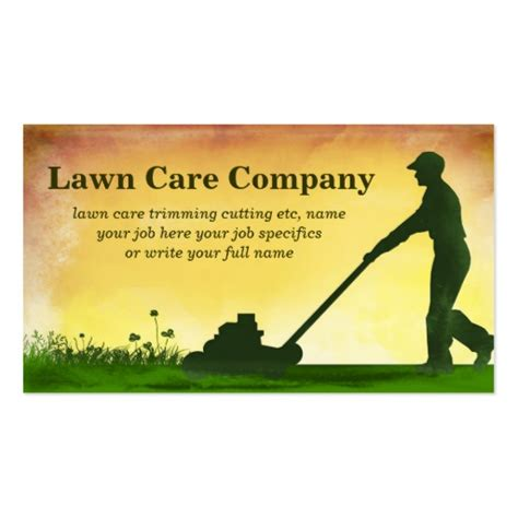 lawn care grass cutting business card standard business