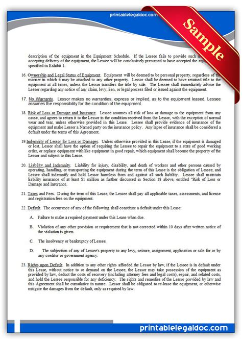 printable equipment lease agreement free printable equipment lease form generic