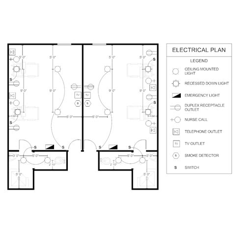 room plan electrical plan patient room