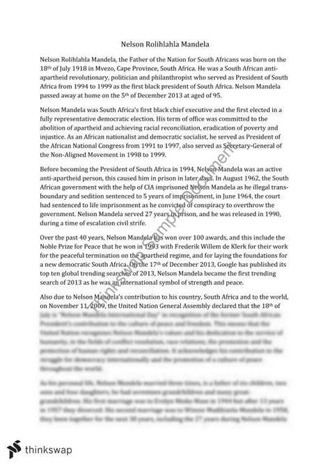 Nelson Mandela Essay by Nelson Mandela Essay