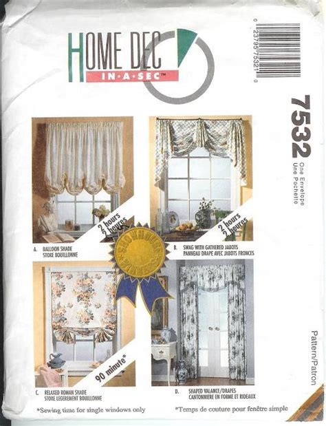 drapery sewing patterns oop mccalls sewing pattern window treatment curtains