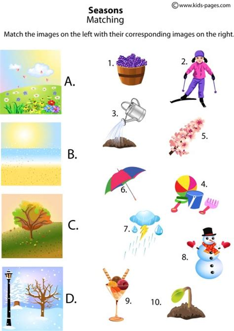 kindergarten activities on seasons the four seasons matching worksheets http www kids pages