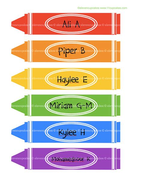 items similar to school crayon labels crayon name tags
