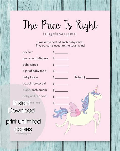 printable unicorn party games the price is right baby shower game pink unicorn theme