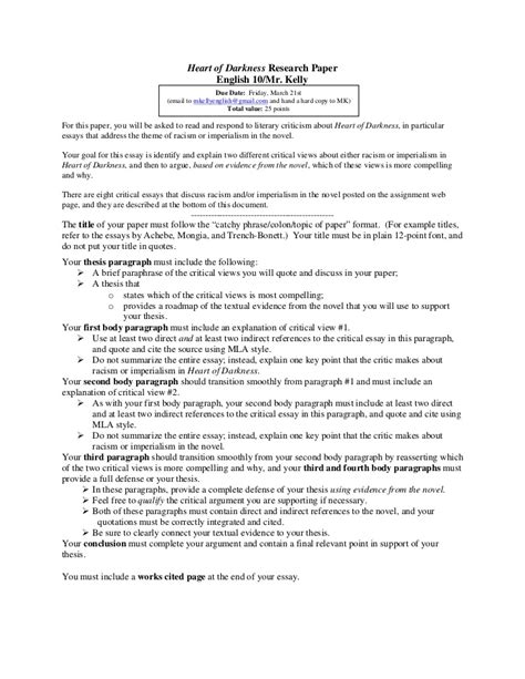 thesis for research paper of darkness research paper