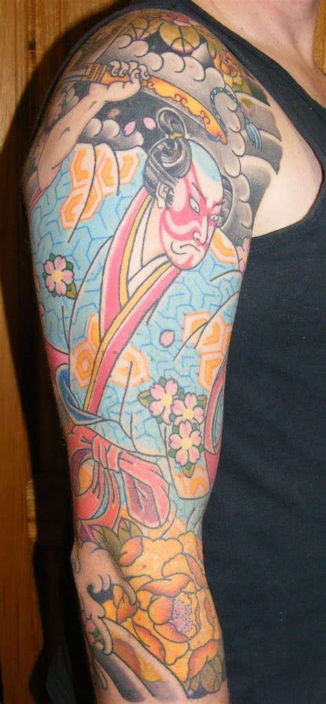 oriental tattoo colored colored japanese samurai tattoo on right sleeve