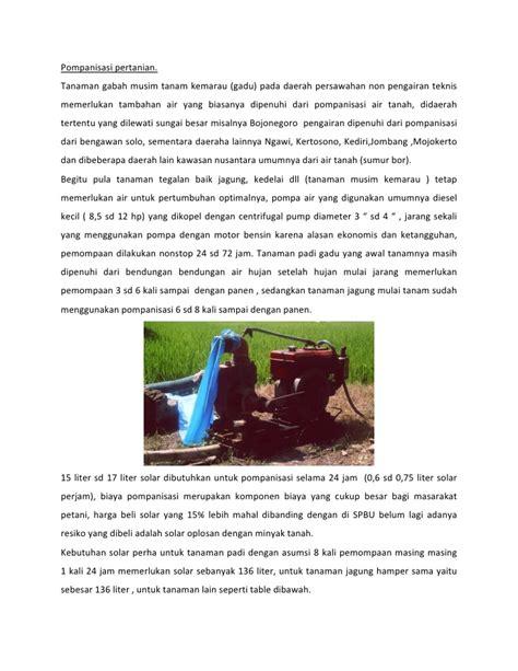 Sekam Bakar Mojokerto pompanisasi diesel gasifikasi