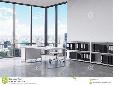 Corner Bookcase Plans Free A Ceo Workplace In A Modern Corner Panoramic Office In New