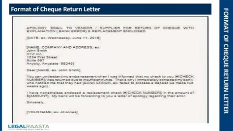 Letter Customer Cheque Return Cheque Return Letter Format Template Legalraasta