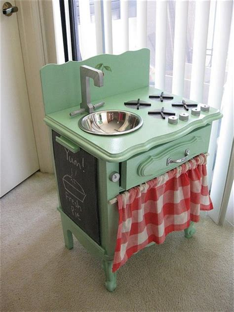Play Kitchen From Old Furniture | 10 diy play kitchen sets home with design