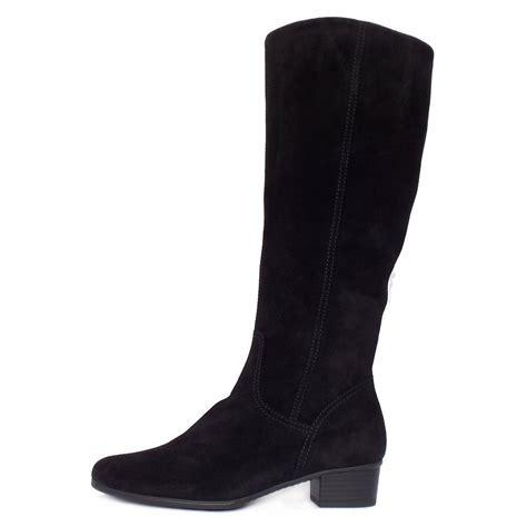 gabor toye knee high black suede boots low heel