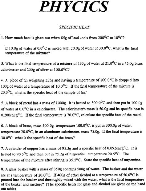 Specific Heat Calculations Worksheet by 28 Worksheet Calculations Involving Specific Heat
