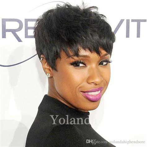 black women short cut layer wigs 2017 new black color layered lambskin short pixie cut wigs