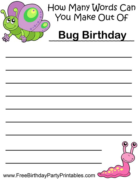 bug butterfly birthday printables