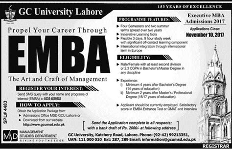 Mba In Lahore College by Gc Lahore Executive Mba Admissions 2017
