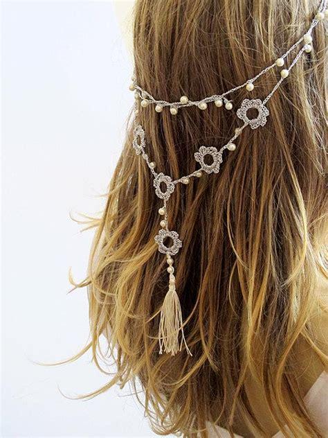 How To Make Handmade Headbands - crochet headband and necklace hairband wedding pearl