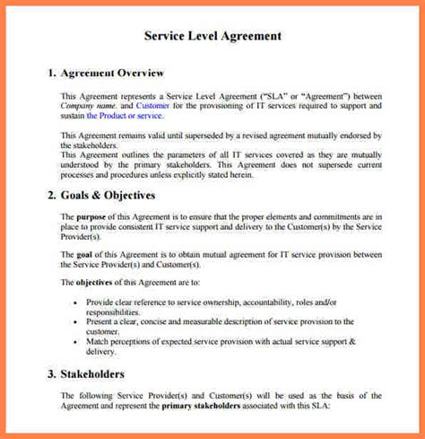 customer service level agreement template purchase agreement group