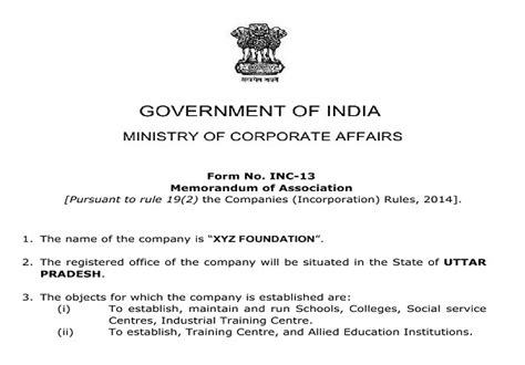 section 25 company india format of moa and aoa of section 8 company co
