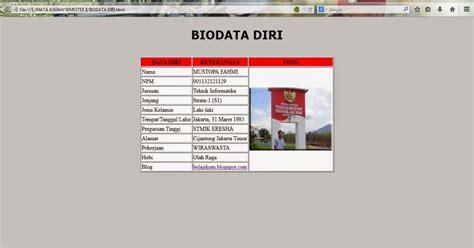 membuat html biodata sederhana membuat biodata berbasis html dengan notepad makenull