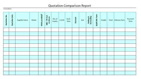 Comparison Report Format