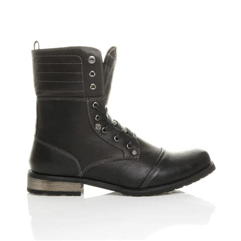 mens fold combat boots mens lace up low heel flat fold padded cuff