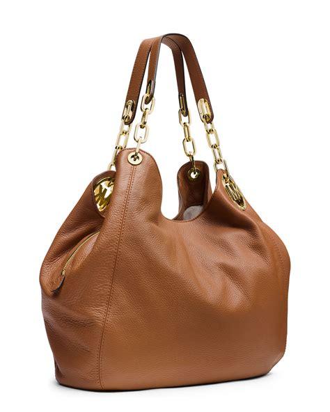 light brown mk purse lyst michael michael kors fulton large shoulder tote bag