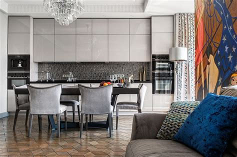 Monochrome Taupe Color Interior with a Hint of Art Deco Home Interior Design, Kitchen and