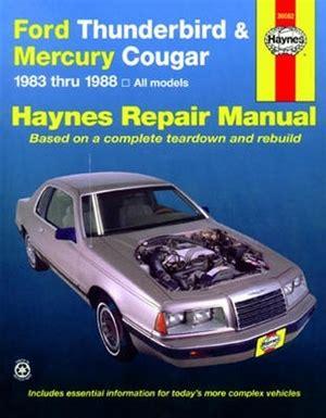 service and repair manuals 1994 mercury cougar windshield wipe control haynes repair manual for ford thunderbird and mercury cougar 1983 thru 1988