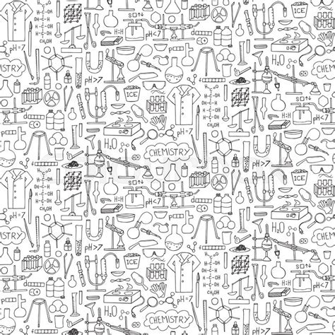 hand drawn wallpaper chemistry doodle hand drawn seamless pattern wallpaper