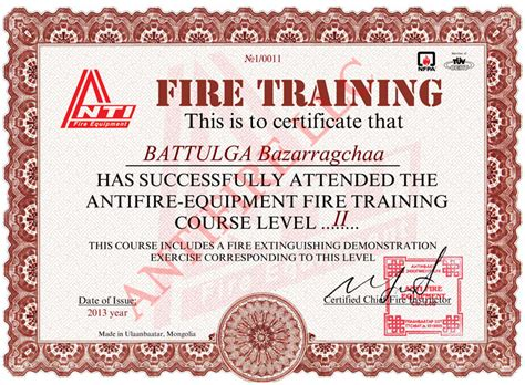 training certificates antifire