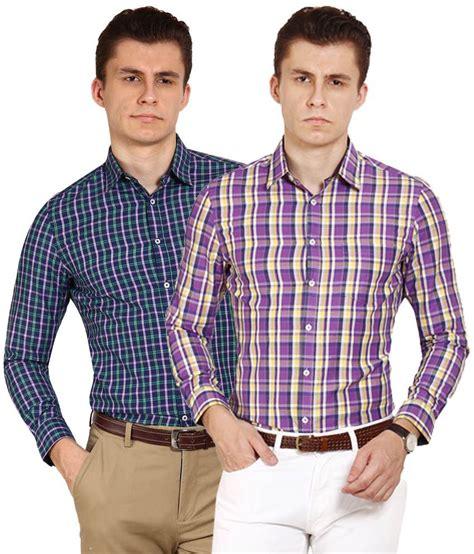 T Shirt Brookyln Bank Diskon blues blue purple slim check shirt pack of 2
