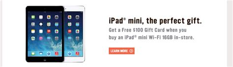 Ipad Mini With Gift Card - radioshack offering 100 gift card with ipad mini purchases for the holidays