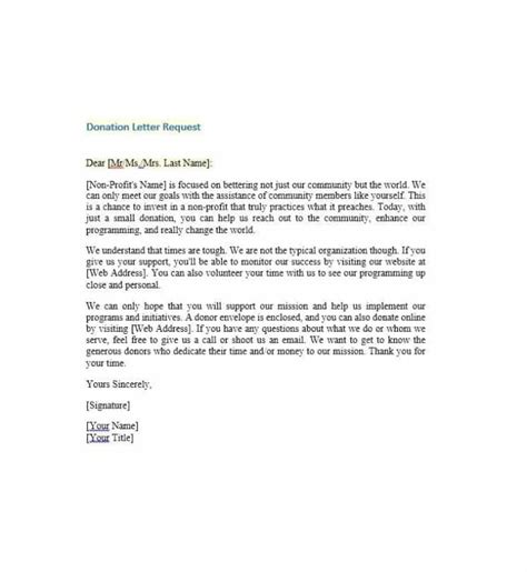 charity donation appeal letter charitable donation letter template template business