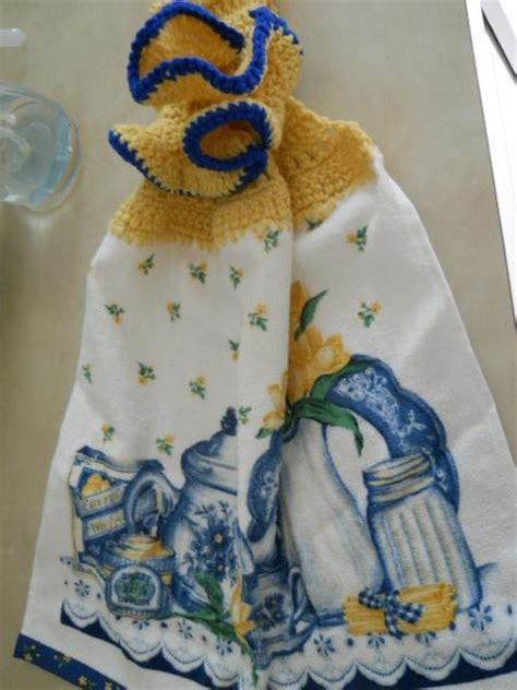 crochet pattern kitchen towel topper you have to see kitchen towel with crocheted topper on