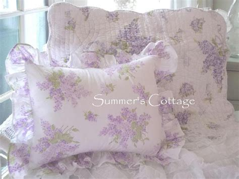 full queen shabby lavender cottage lilacs aqua blue chic