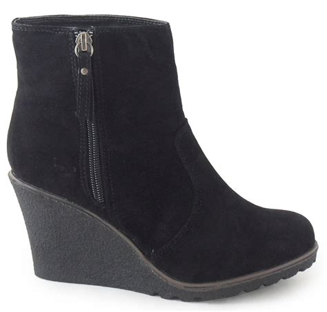 womens black suede ankle wedge shoes boots 3 8 ebay