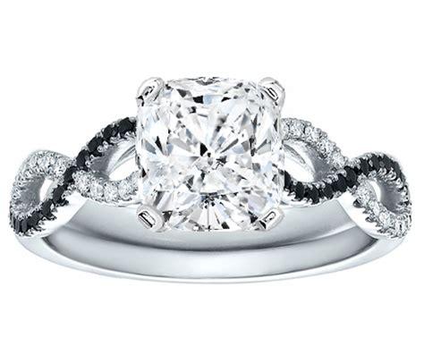 engagement ring cushion cut black white