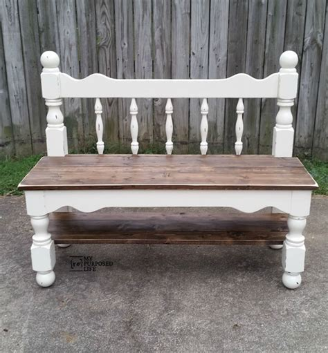 making a bench out of a bed white twin headboard bench