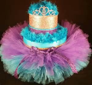 2 tier teal purple amp gold diaper cake w princess tiara