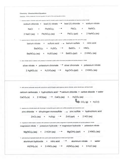 Word Equations Chemistry Worksheet by Worksheet Introduction To Chemistry Worksheet Answers