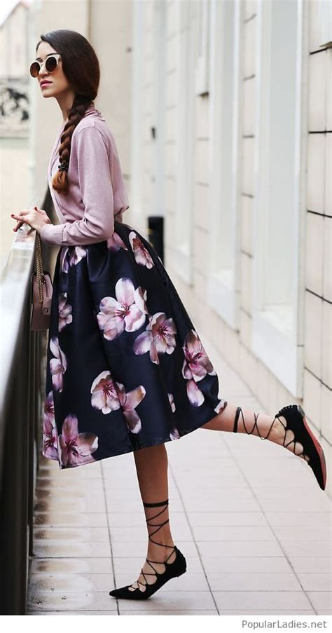 midi floral skirt pink blouse and lace up flats