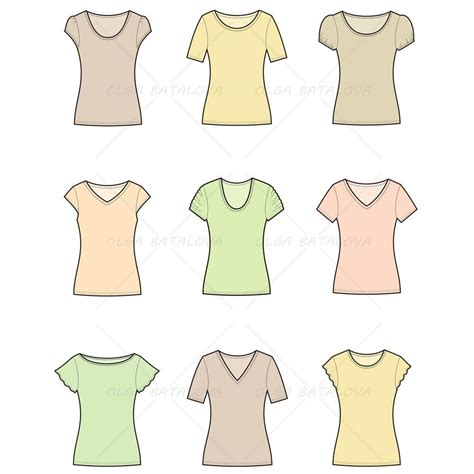 Women S T Shirt Fashion Flat Template Illustrator Stuff T Shirt Template Sketch