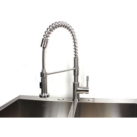 Coiled Kitchen Faucet European Style Lead Free Coil Duel Spout Brushed Nickel Kitchen Faucet