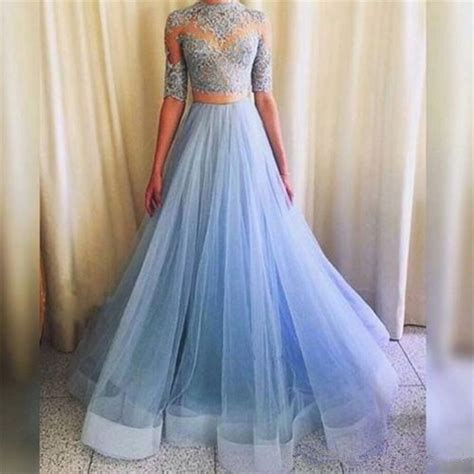 pretty light blue lace top and tulle skirt dresses