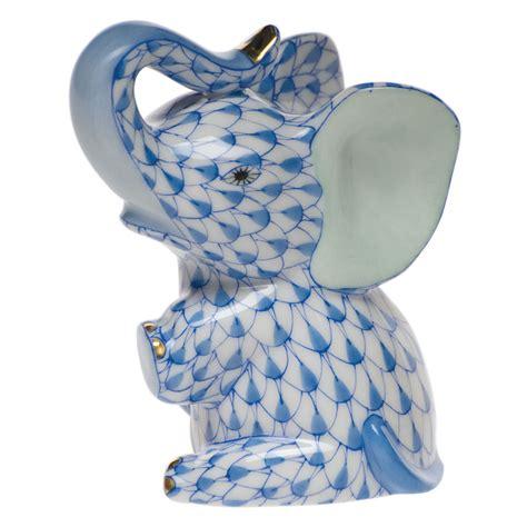 porcelain elephant herend blue fishnet figurine baby elephant 3 quot h